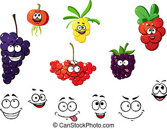 Fresh cartoon berries set