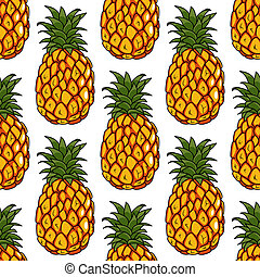 Seamless pattern of pineapples fruits