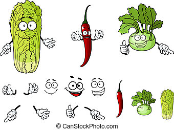 Pepper, radish and cabbage cartoon vegetables isolated on...