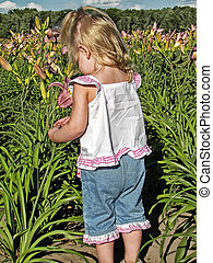Flower Picker - Little girl picking a flower in a field.