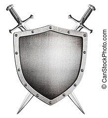 metal medieval shield and crossed swords behind it isolated...