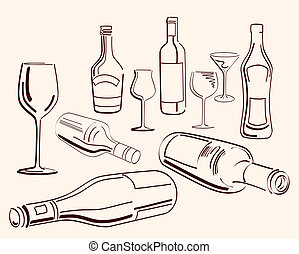 goblets and bottles set of ten vector elements