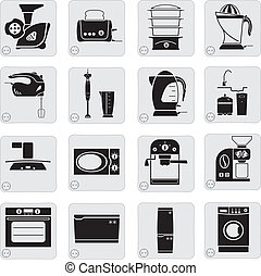 electrical devices in the kitchen - compilation of vector...