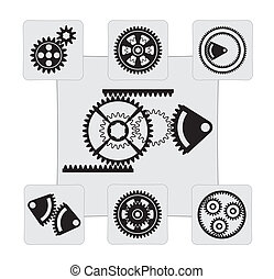 gear set of vector designs on a gray background