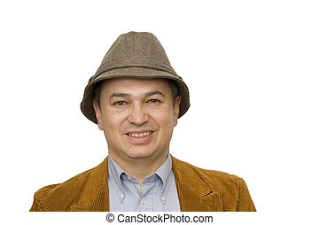 Man in Hat Smiling Close