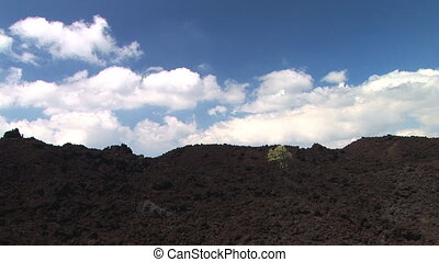 Hawaii Hillside - Volcanic landscape on the Big Island in...