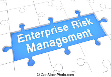 Enterprise Risk Management - puzzle 3d render illustration...