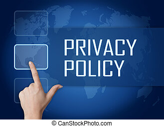 Privacy Policy concept with interface and world map on blue...