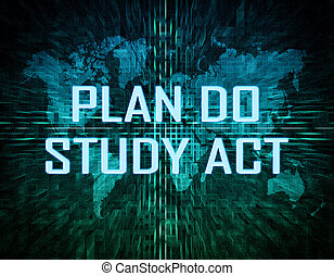 Plan Do Study Act text concept on green digital world map...
