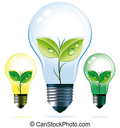Light bulbs with the plants in them - Illustration for your...