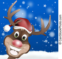 Rudolph with Christmas Hat and Happy Smile Face - Rudolph...