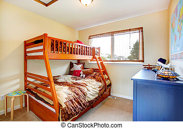 Kids room with two level bed