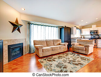House interior. Living room and kitchen area - Furnished...