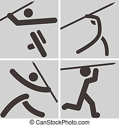 Javelin throw icons - Summer sports icons set - Javelin...