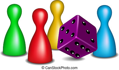 Board game figures with purple dice on white background