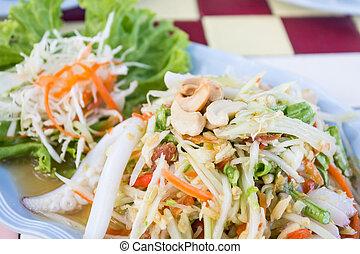Thai papaya spicy salad with crab, Som Tum. - Thai papaya...