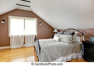 bedroom with antique bed - Velux mocha and white bedroom...