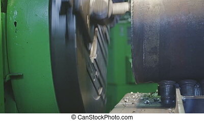Milling machine detail - Working milling machine scrape...