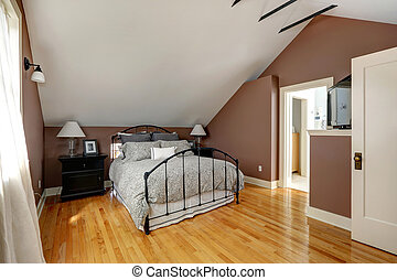 master bedroom - White and mocha bedroom with iron frame bed...