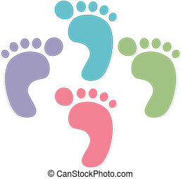 foot prints color on white background