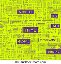 HTML Word cloud illustration Tag cloud concept collage