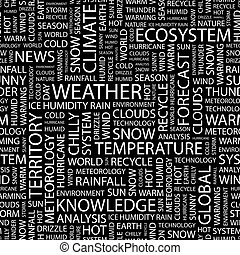 WEATHER. Seamless pattern. Word cloud illustration.