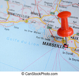Close up of Marseille map with red pin - Travel concept