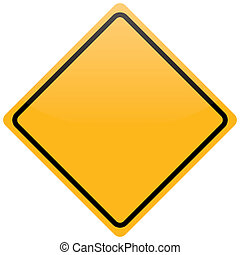 blank yellow warning sign isolated