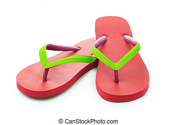 Red sandal - Pair of red sandal isolated on white background