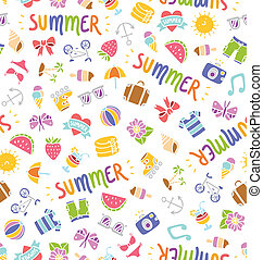 Seamless summer things doodle pattern