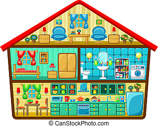 Cartoon house in a cut. Vector illustration