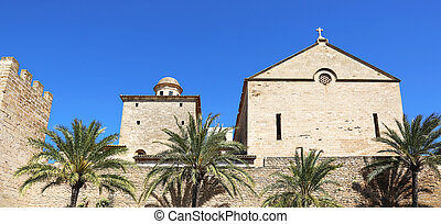 City Wall Alcudia Mallorca - the city wall and the Saint...