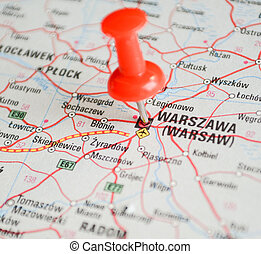 Close up of Warsaw map with red pin - Travel concept