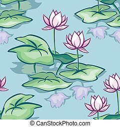 lotus seamless - vector seamless background with lotus