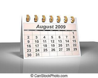 August 2009 Desktop Calendar (3D). - Desktop Calendar. Week...