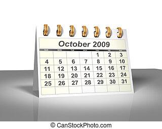 October 2009 Desktop Calendar (3D).