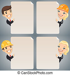 Businessmen Cartoon Characters Looking at Blank Poster Set....