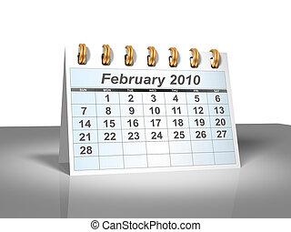 February 2010 Desktop Calendar (3D).