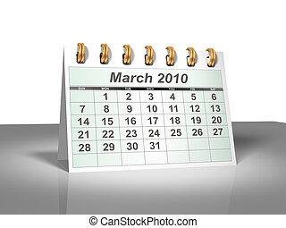 March 2010 Desktop Calendar (3D).