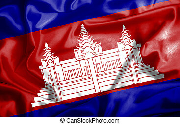 Cambodia waving flag
