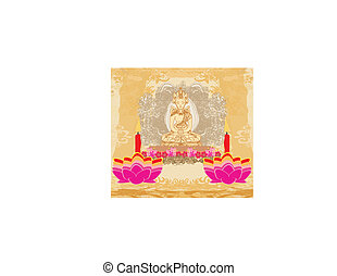 Lotus Oil Lamp with Buddha card