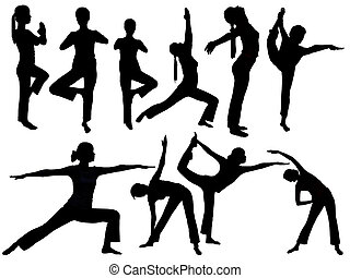 Yoga silhouette - Women's yoga poses a variety of...
