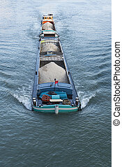 Barge on the Seine River, France - Barge on the Seine River,...
