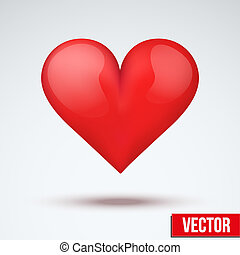 beautiful bright red heart. Vector.