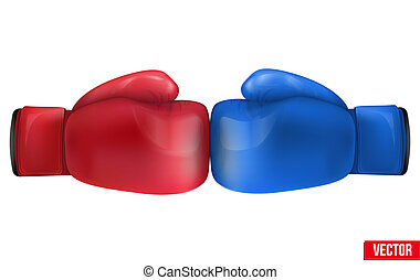 Two Boxing gloves in collision. Isolated on white...