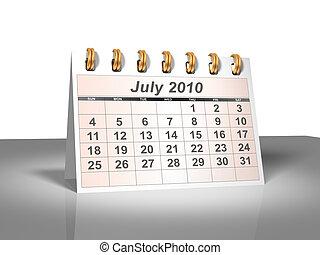 July 2010 Desktop Calendar (3D).