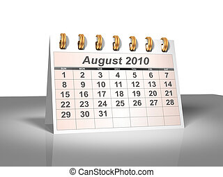 August 2010 Desktop Calendar (3D).