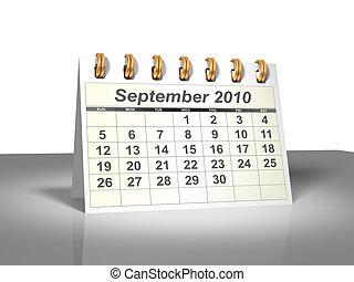 September 2010 Desktop Calendar (3D).