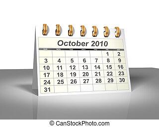 October 2010 Desktop Calendar (3D).