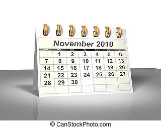 November 2010 Desktop Calendar (3D).